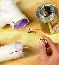 Apply cement to the inside of one fitting