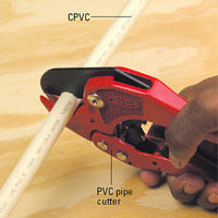 Cut pipe with a PVC pipe cutter