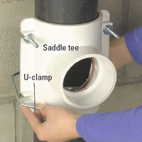 Slip U-clamp around pipe