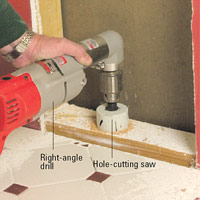 Cut hole with right-angle drill