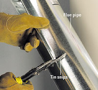 Cut piping with tin snips