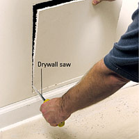 Cut with drywall saw