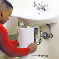 Slide pedestal under sink