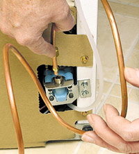 Connect copper tubing to icemaker connection