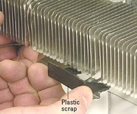 Slip plastic between fins