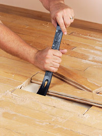 Pry up flooring