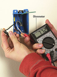 Check resistance with ohmmeter