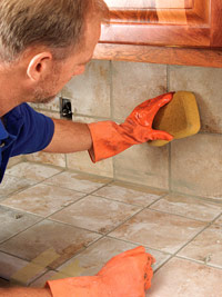 Remove excess grout