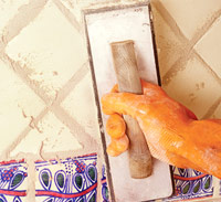 Force grout into joints