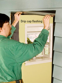 Add metal drip cap flashing