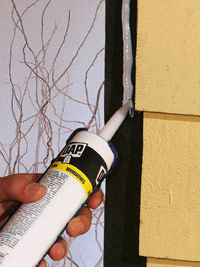 Apply bead of caulk around opening