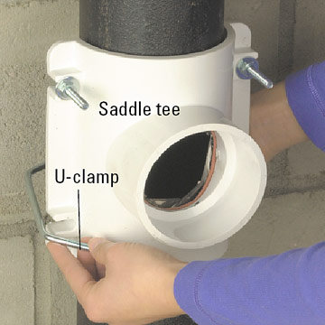 Sewer Saddle Iron To Pvc http://www.diyadvice.com/diy/plumbing/working-with-pipe/cast-iron/