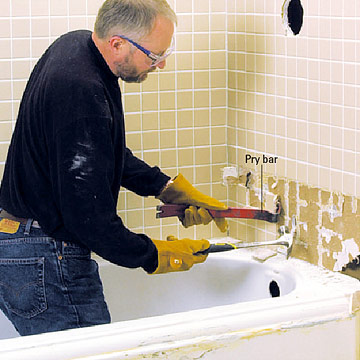 how to remove a bathroom tub and Outside