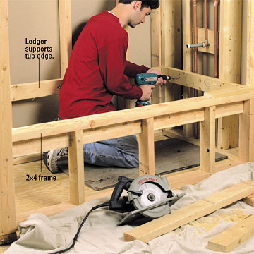 Build frame Enlarge Image. Installing a Whirlpool Tub   How to Install a New Bathroom   DIY