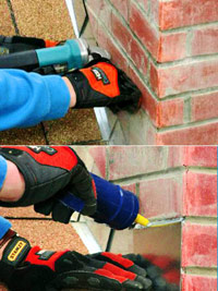 Install counterflashing and apply mortar with caulking gun