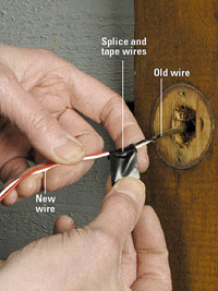 Splice and tape wires