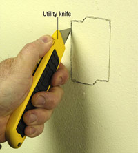 Cut with utility knife