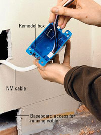 Run cable to remodel box