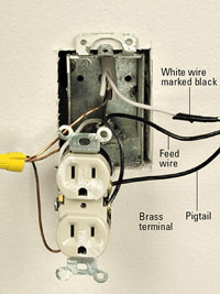 Mark switch wire with black tape