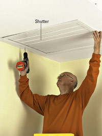 Attach shutter to ceiling