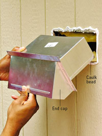 Slide duct and cap through wall