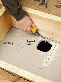 Cut hole with drywall saw