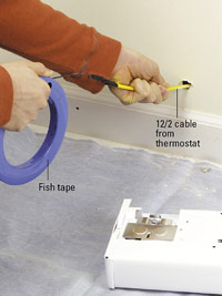Fish cable from thermostat