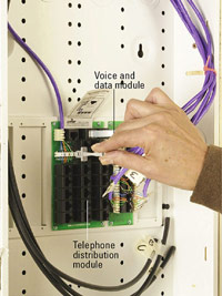 Connect patch cords in voice and data module