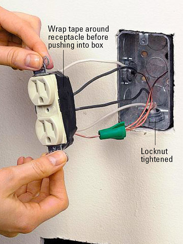 installing a receptacle how to install a new electrical fixture connect the new wires enlarge image