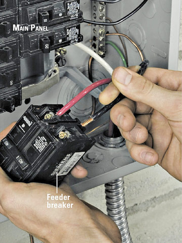 installing an electrical subpanel how to install appliances connect wires to feeder breaker