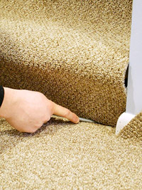 Push carpet into strip
