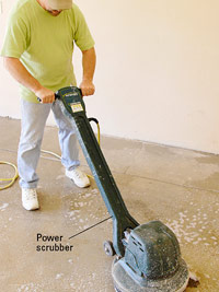 Clean floor with scrubber