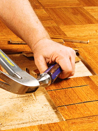 Cut out parquet sections