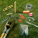Post Hole Digger, Pliers, Stringwire and other tools and materials