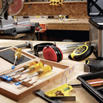 tools scattered on table