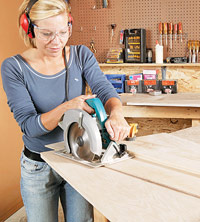 Cut with circular saw and straightedge guide