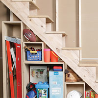 Basement Under-Stair Storage Shelves