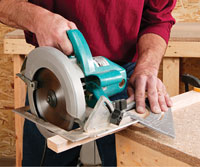 Crosscut using circular saw and angle square