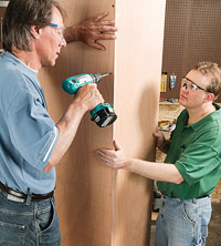 Join pieces with drywall screws