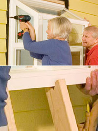 Notched lumber keeps window in place, Partially drive screws