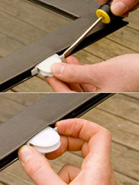 Attach screen roller with screw, Attach screen roller with pin