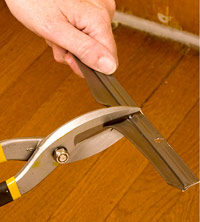 Cut sweep with tin snips