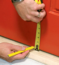 Measure door for cut