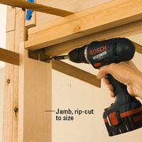 Attach jambs with trimhead screws