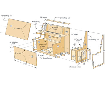 built in storage bench plans