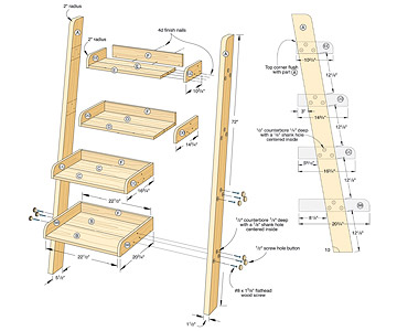 Full plans and a step away step ladder bookshelf plans Ladder Shelf ...