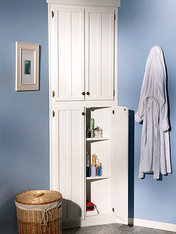 Bathroom on How To Build A Corner Linen Cabinet   Adding Extra Storage Space