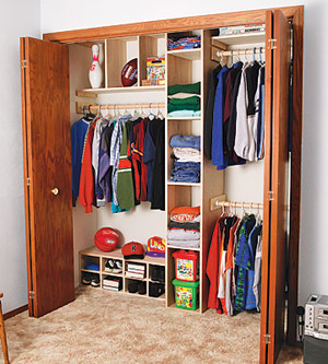 how to build a closet organizer adding extra storage space built ins shelves bookcases. Black Bedroom Furniture Sets. Home Design Ideas