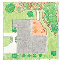 Attached patio layout