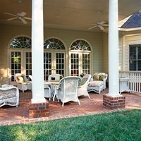 White wicker on patio